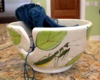 Praying Mantis Handmade Yarn Bowl