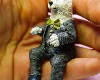 polar bear in little suit and bowtie , ooak polymer clay