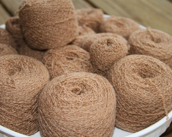 100% Cashmere Reclaimed Yarn Brown/Camel -- 9 oz -- 260 grams -- 1870 yards