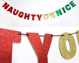 NAUGHTY OR NICE Glitter Banner Wall Decor - Sparkly Red, Gold, Green - Holiday Party Decoration - Christmas Decorations
