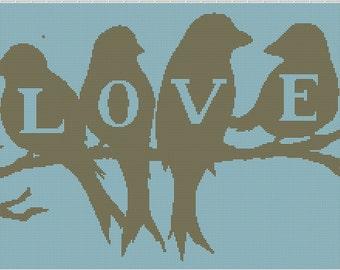 Birds in Love Crochet Graphghan Pattern