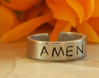 AMEN - Hand-stamped Aluminum Ring