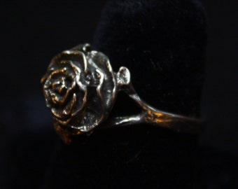 Single Large Rose - Sterling Silver Ring