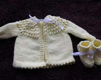 Baby sweater and bootie set
