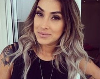 Balayage Dip Dye 8A Remy Human Double Weft Clip In Hair Extensions Colour 2 Darkest Brown Silver Grey