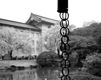 A rain chain in the Tokyo National Museum Garden.  Tokyo, Japan (available in square or portrait)