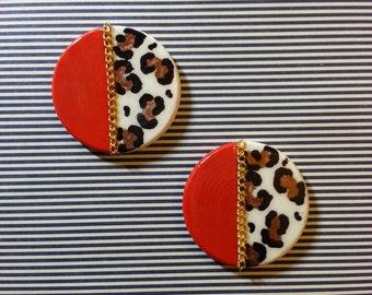 Red Leopard Mini Earrings
