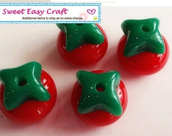 2 Set  Tomato Bead Charm Jewelry supplies finding earring necklace finding