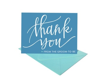 Bright Calligraphy Thank You Cards from the Groom To-Be - Set of 8