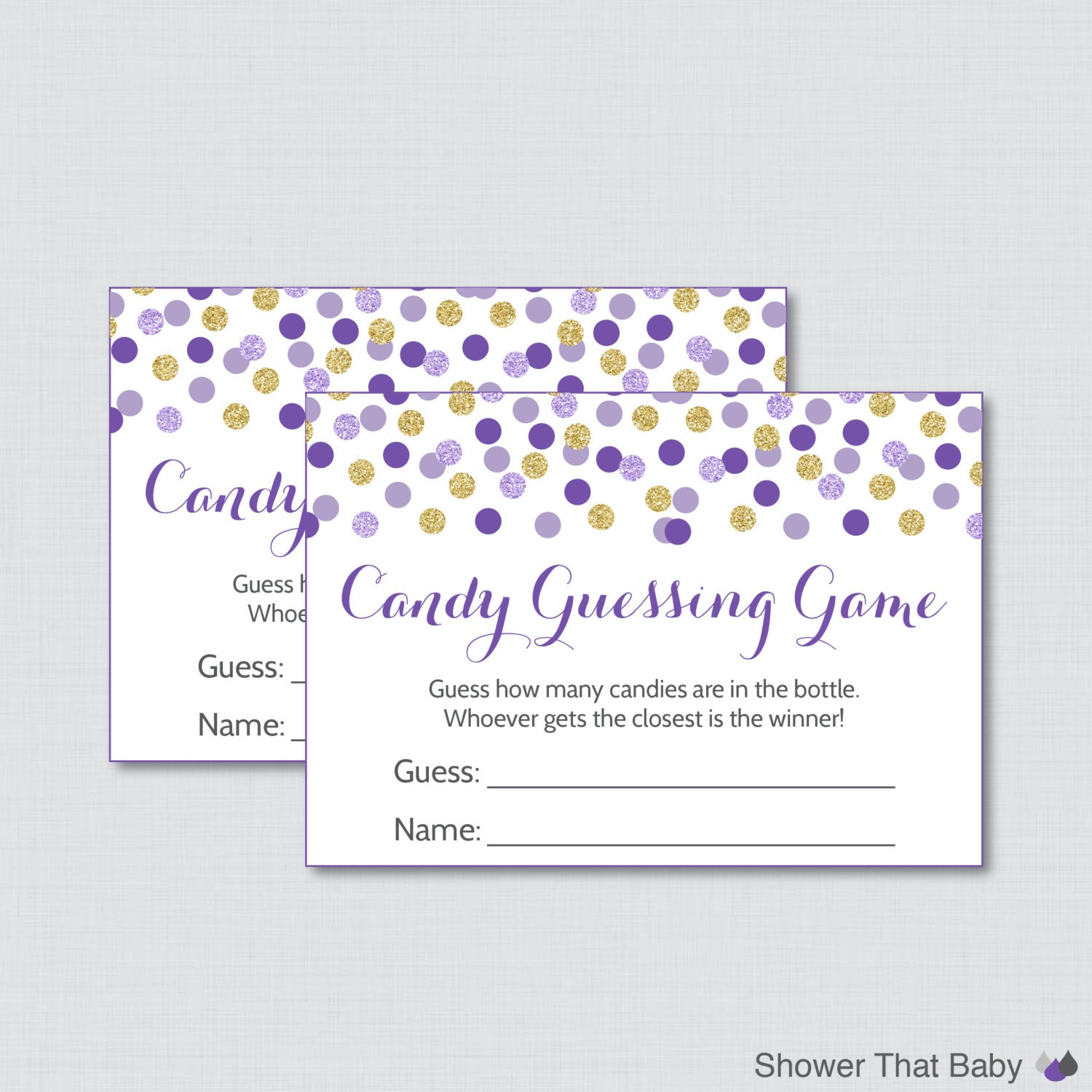 purple and gold baby shower candy guessing game by showerthatbaby