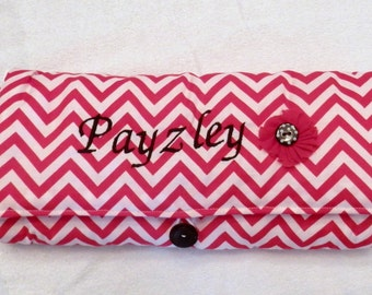 Personalized Clutch Changing Pad, Embroidered Changing Pad, Shabby Chic flower changing pad, Newborn to Toddler