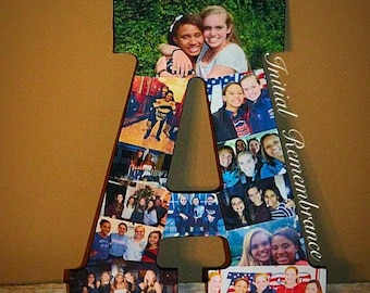 Photo Letter Collage Senior night 2015 Girlfriend graduation Wedding Birthday Anniversary Engagement Best Friend picture frame awards