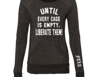 Beagle Freedom Project FTLA Apparel - Until Every Cage Is Empty Liberate Them! - Eco Black Off The Shoulder Eco-Fleece Sweatshirt