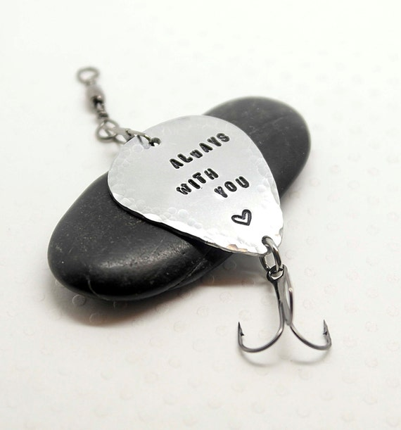 Hand stamped personalized fishing lure fish lover custom for Unique fishing gifts