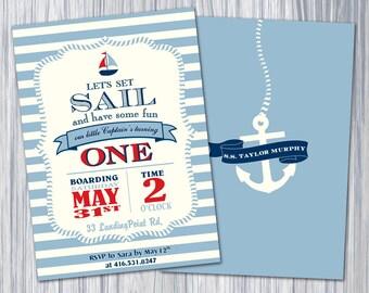 Nautical Birthday Party Theme - Blue Stripe Invitation/Printable Invitation