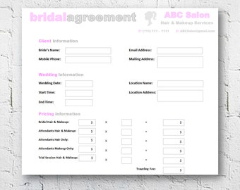 Hair Stylist U0026 Makeup Artist Bridal Agreement Contract Template | Editable  Printable Word Document | 8.5  Microsoft Excel Order Form Template