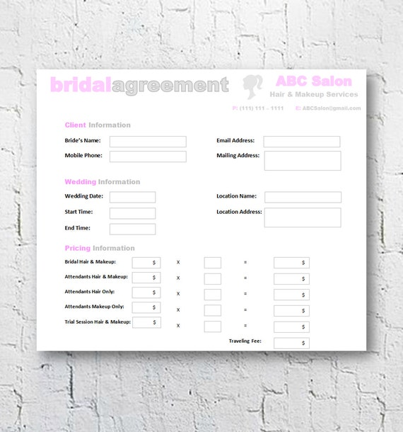 Hair Stylist & Makeup Artist Bridal Agreement Contract