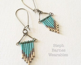 Neutral and turquoise fringe earrings