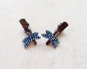 Blue Iridescent Crystal Rhinestone Hair Alligator Clips Set of (2) Dragonfly