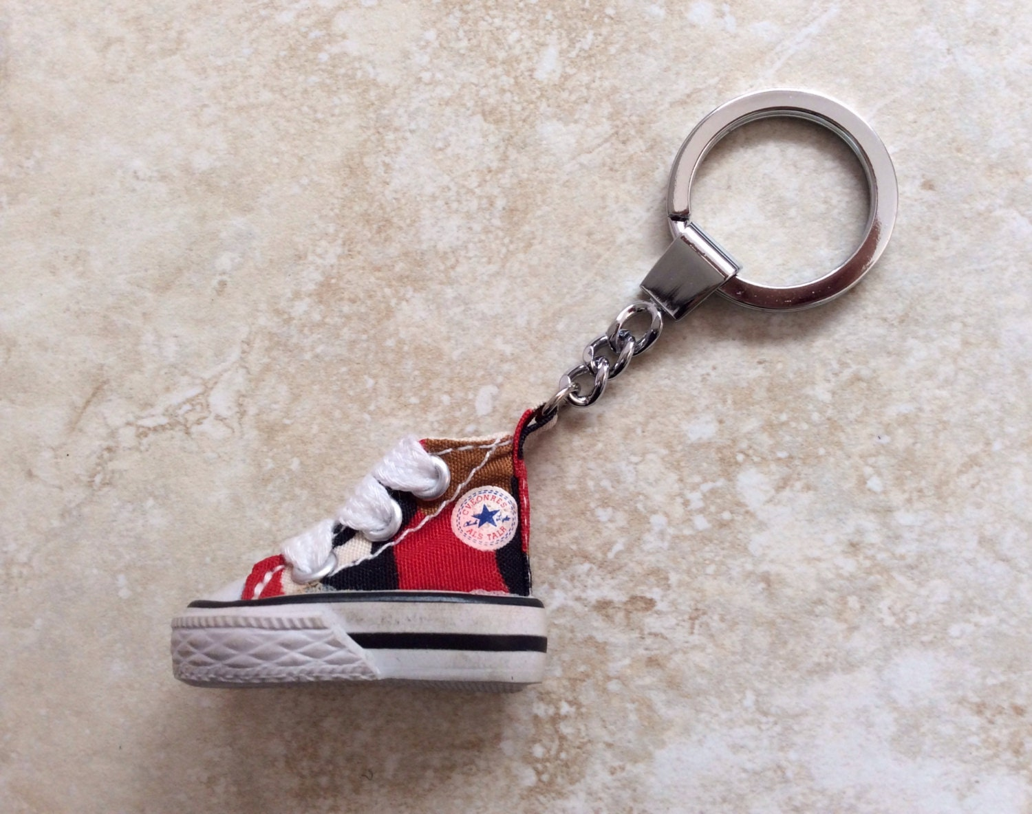 mini red converse camouflage canvas shoe keychain keyring key