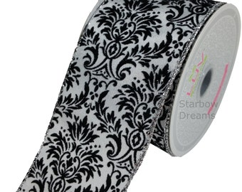 "2 1/2"" Wired Damask Ribbon 10 Yards"
