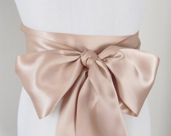 Deep Champagne Ribbon Sash / Double Faced Ribbon Sash / Bridal Sash / Bridal Ribbon / Deep Champagne