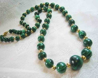 Vintage Graduated Malachite Beaded Necklace