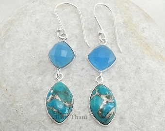 Blue Chalcedony and Silver Blue Turquoise Gemstone Earrings 925 Sterling Silver Dangle Earring - #1466
