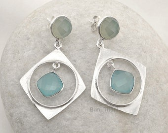 Aqua Chalcedony 10mm  and Blue Chalcedony 10 mm x 10 mm 925 Sterling Silver Earring Jewelry - #1444
