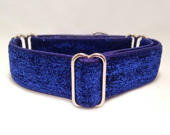1.5 inch Martingale Collar, Metallic Royal Blue Glitter Ribbon Martingale Collar, Greyhound Martingale Collar, Dog Martingale Collar