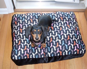 Beautiful Dachshund dog bed for your special dog in black and vibrant accent colors.