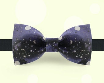 Universe Bow Tie - Moon and Star Bowtie - Slient Night bowtie - Classic bowtie