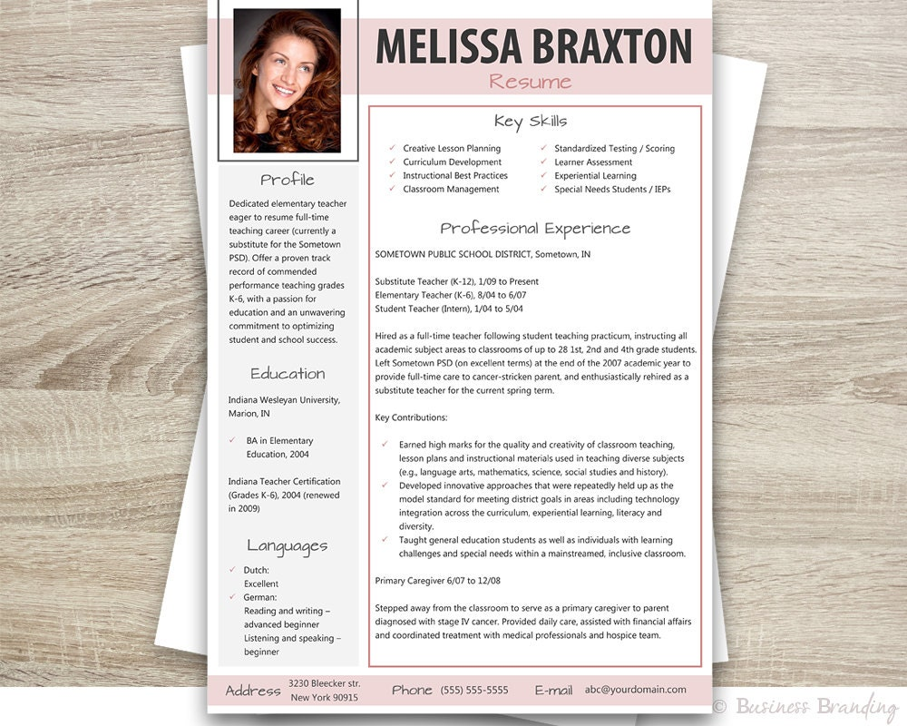 teacher resume with photo resume cover letter by