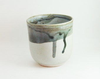 Porcelain Tea Bowl, 8 oz ounce Grey & Lavender, Wine Glass Tumbler / Unique Coffee Mug Cup Handleless, Handmade Wheel Thrown yunomi pottery