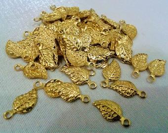 150 Pieces Raw Brass 6,5 x 13 mm Small Leaf Charms