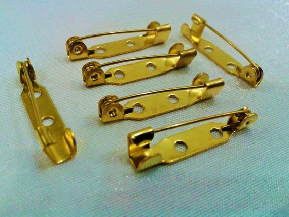 20 Pcs 25 mm Raw Brass Brooch Backs Pin Findings