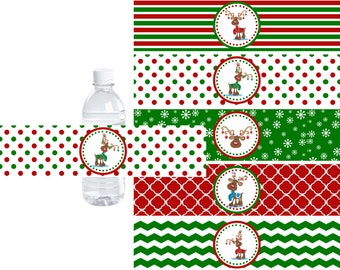 Christmas Reindeer Water Bottle Labels, Christmas Water Bottle Wrap, Water wrapper, INSTANT DOWNLOAD, DIY Printable File Party Decorations
