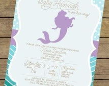 girl baby shower invitation little mermaid under the sea baby shower