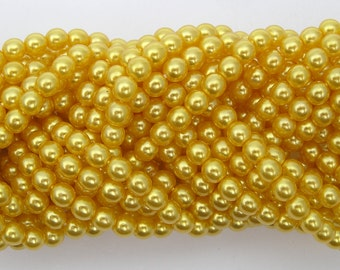 Yellow Gold Pearl, Czech Round Glass Imitation Pearls in 2mm, 3mm, 4mm, 6mm, or 8mm
