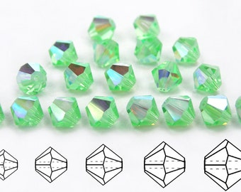 Chrysolite AB coated, Czech MC Bicone Bead (Rondell, Diamond Shape) in 3mm, 4mm and/or 6mm, Light Green AB color