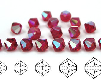 Light Siam AB coated, Czech MC Bicone Bead (Rondell, Diamond Shape) in 3mm, 4mm and/or 6mm, Red AB Color Beads, Aurora Borealis