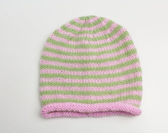 3-6 months pink and green stripe hat