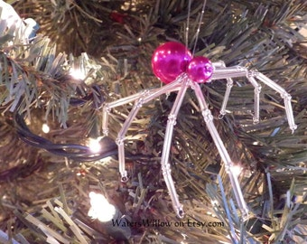 Pink and Silver Legend Of The Christmas Spider Ornament - Handmade