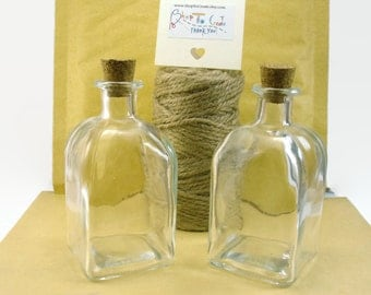 x2 Square Glass Bottle With Cork Lid, 100ml Cute Glass Bottle, Clear Glass Container for 1000s of uses, set 2 glass bottles with corks, 1/8L