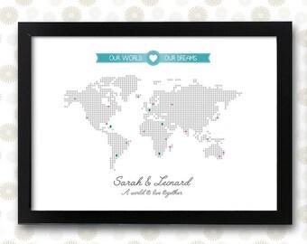 world map wedding print worldmap poster  / printable pdf / wall art travel decor visited countries state dreams city decoration illustration