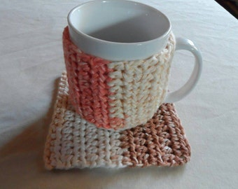 Crochet coffee cup cozy and mug rug set