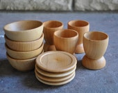 Wooden Toy Dishes - A Waldorf and Montessori Inspired Pretend Play Kitchen Toy - Set of 4 Play Dishes