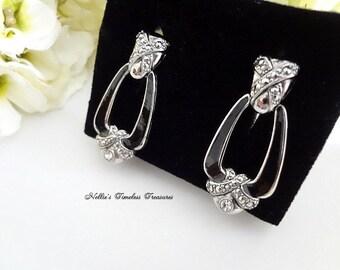 Vintage Avon Silver Door Knocker Earrings,Black Enamel Earrings,Avon Jewelry,Avon Earrings,Crystal DoorKnocker Pierced Earrings,Gift For Her
