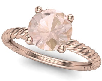 Brilliant Cut 1 Carat Morganite Ring on Twisted 18K Rose Gold