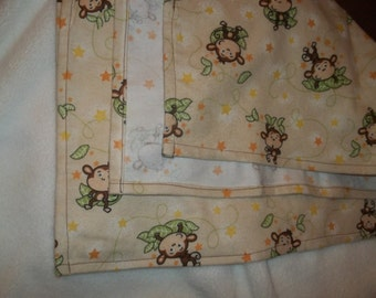 Flannel Receiving Blanket - Monkeys and Stars